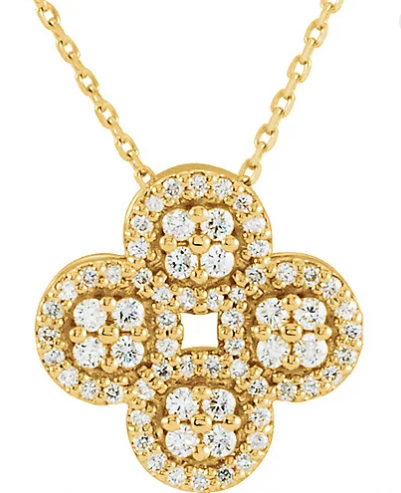 14k yellow gold 1/2 ctw diamond clover necklace