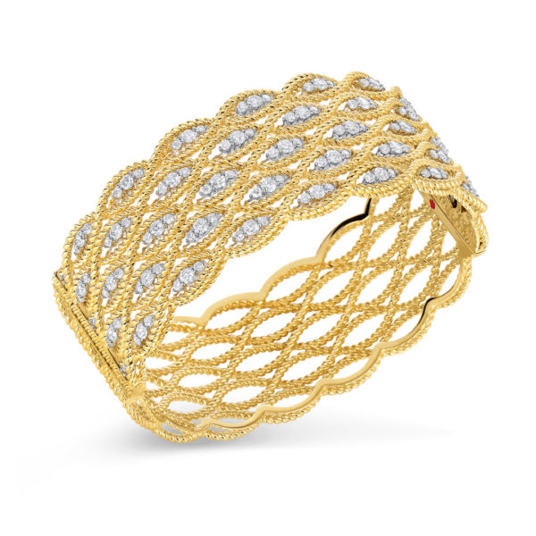 5 row bangle with diamonds