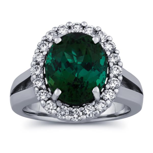 5 5/8 carat tourmaline & diamond ring in 14k gold