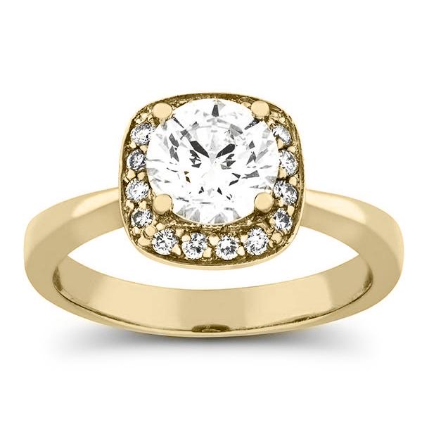 1 3/8 carat diamond halo engagement ring in gold