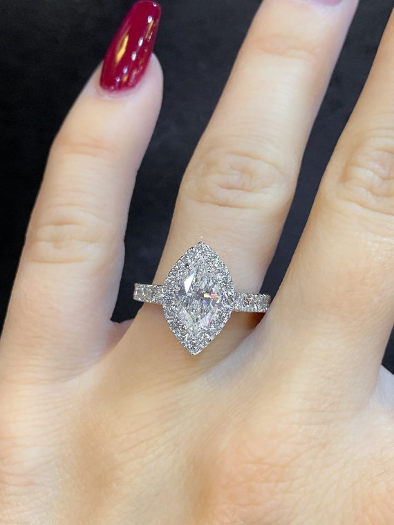 marquise diamond engagement ring | diamond halo | cathedral setting | 2.50 total diamond carat weight
