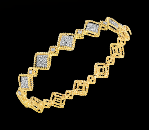 Roberto coin alternating pattern diamond station bangle
