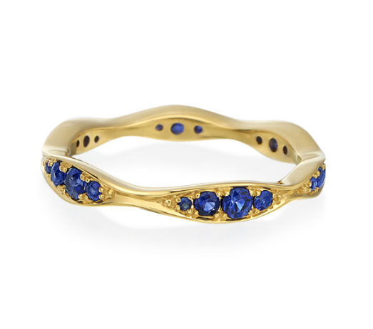 Gold and sapphire waves band ring