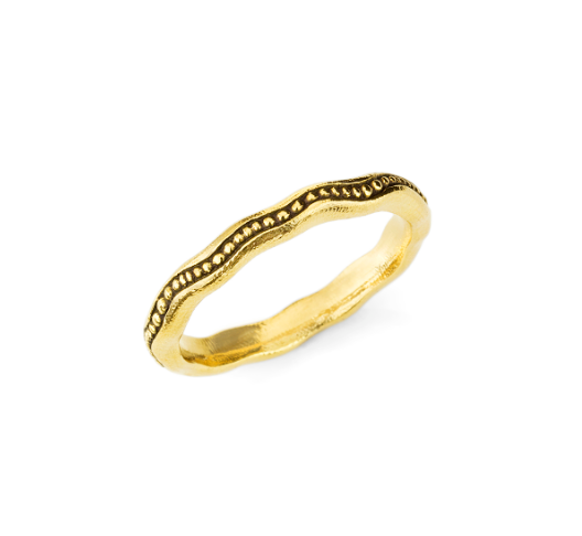 Gold wave bubble ring