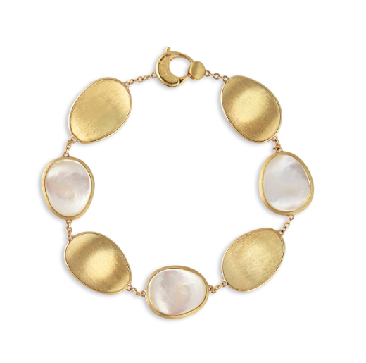 Gold bracelet with white mother of pearl