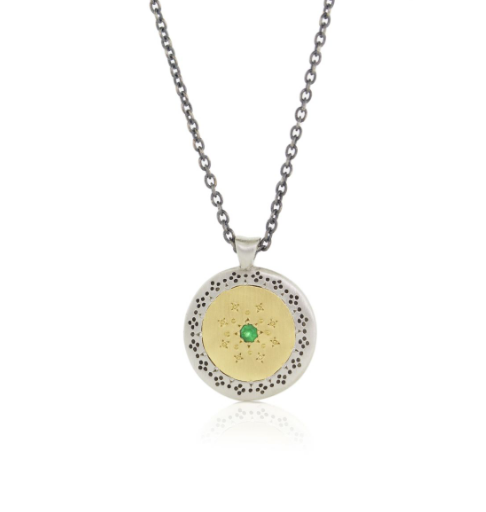 Gold and silver seed of harmony pendant necklace