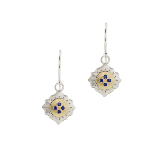 Silver and gold sapphire east and west earrings