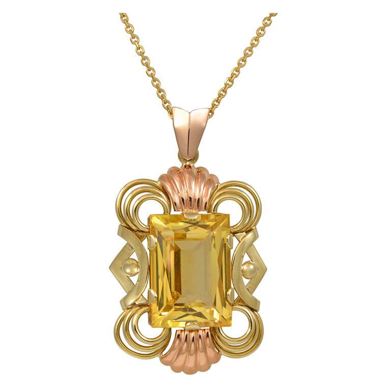 retro design yellow gold and rose gold 10.70 ct citrine pendant