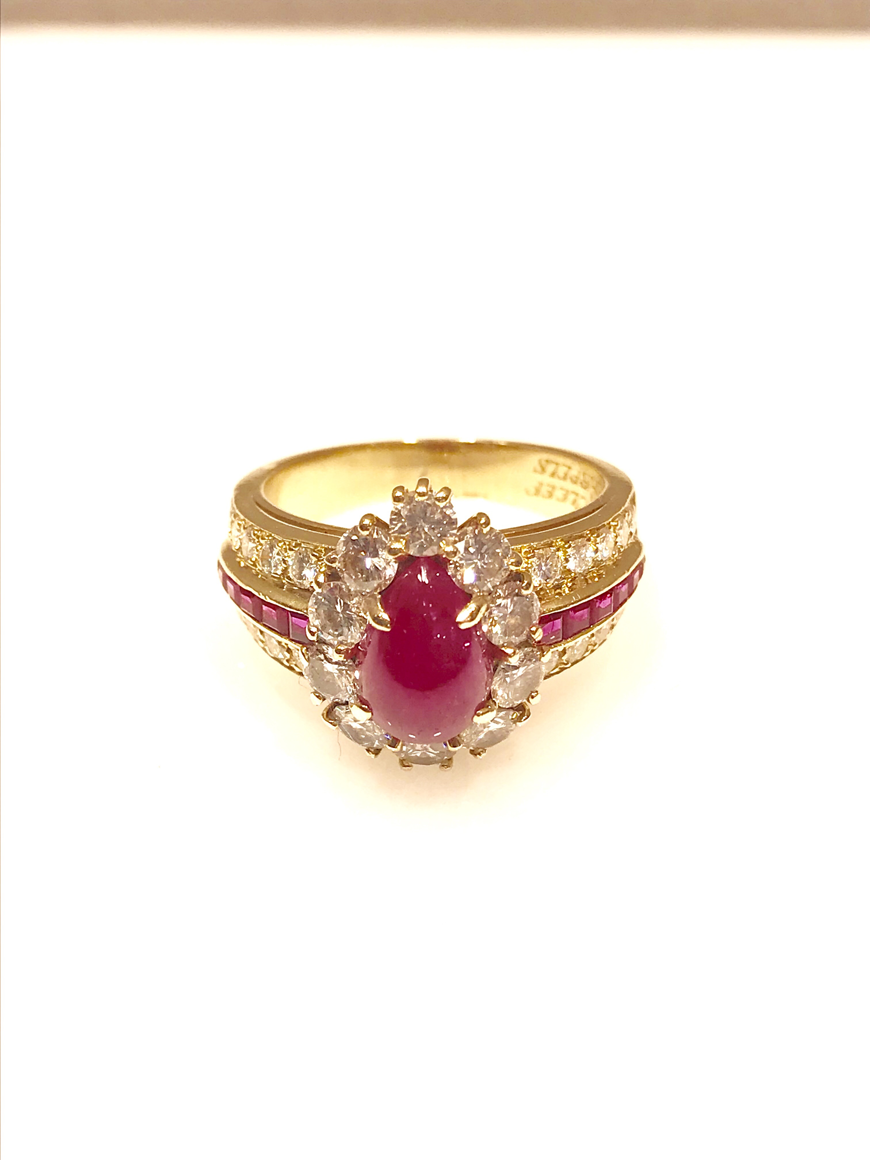 van cleef & arpels cabochon ruby and diamond yellow gold ring