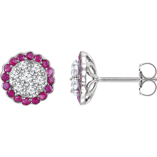 14k white ruby & 5/8 ctw diamond earrings