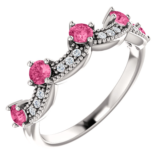 14k white pink tourmaline & .06 ctw diamond crown ring