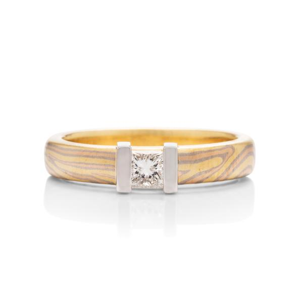 george sawyer design mokume gane 18k gold & platinum diamond ring