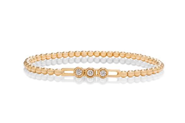 18k gold stretch beaded diamond bracelet
