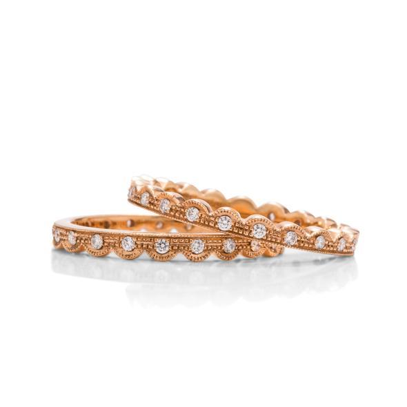 pair of 18k rose gold stackable diamond rings