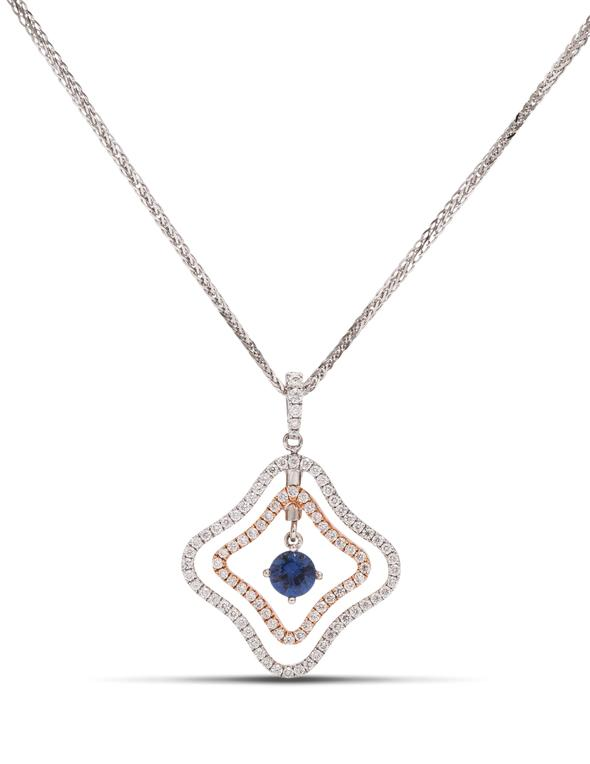 two-tone dancing sapphire necklace