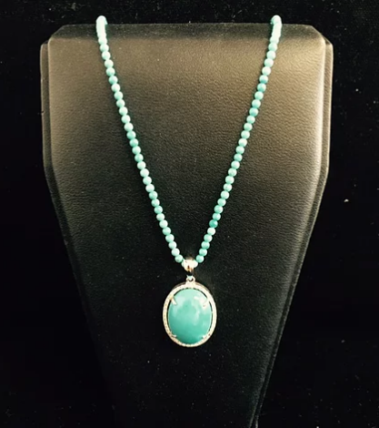 14k white gold turquoise & diamond pendant