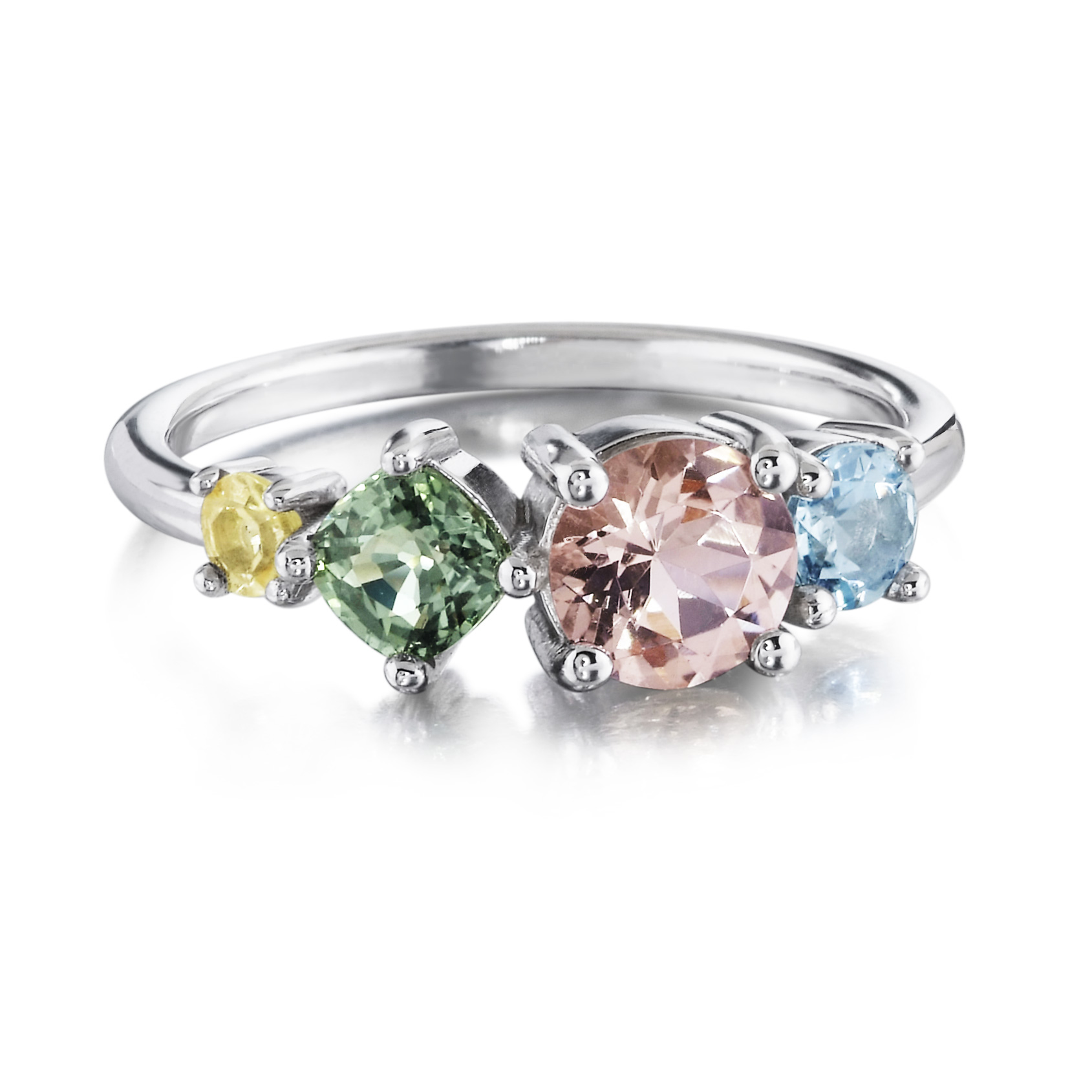pastel gemstone cluster ring