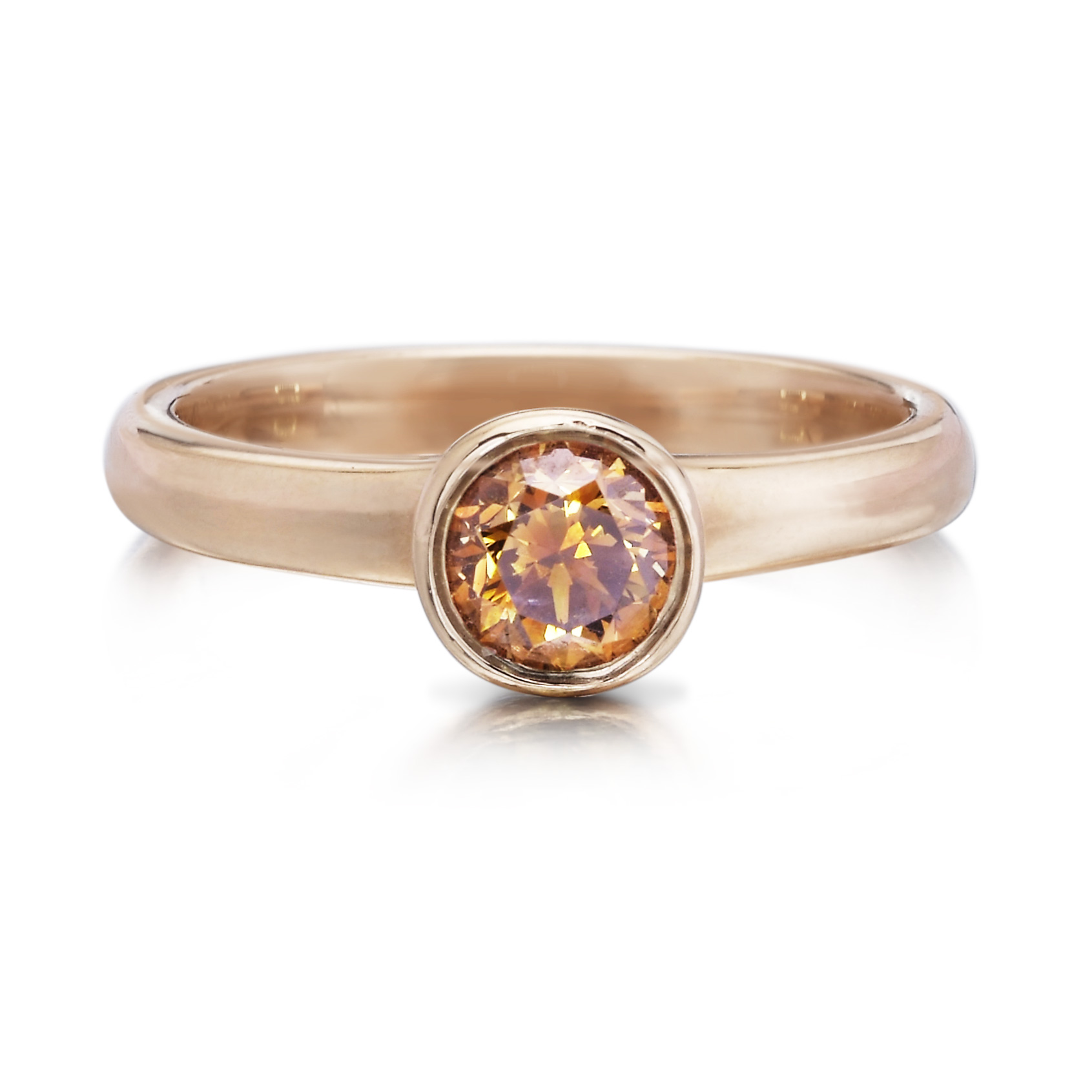 orange brown brilliant cut diamond ring
