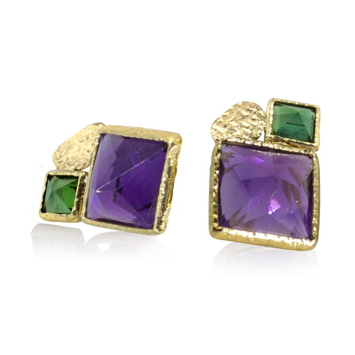 amethyst and green tourmaline stud earrings