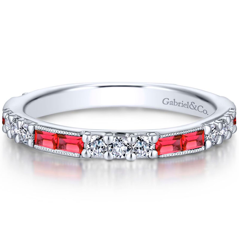 14k white gold channel set baguette rubies wedding band - 0.32 ct. total diamond weight