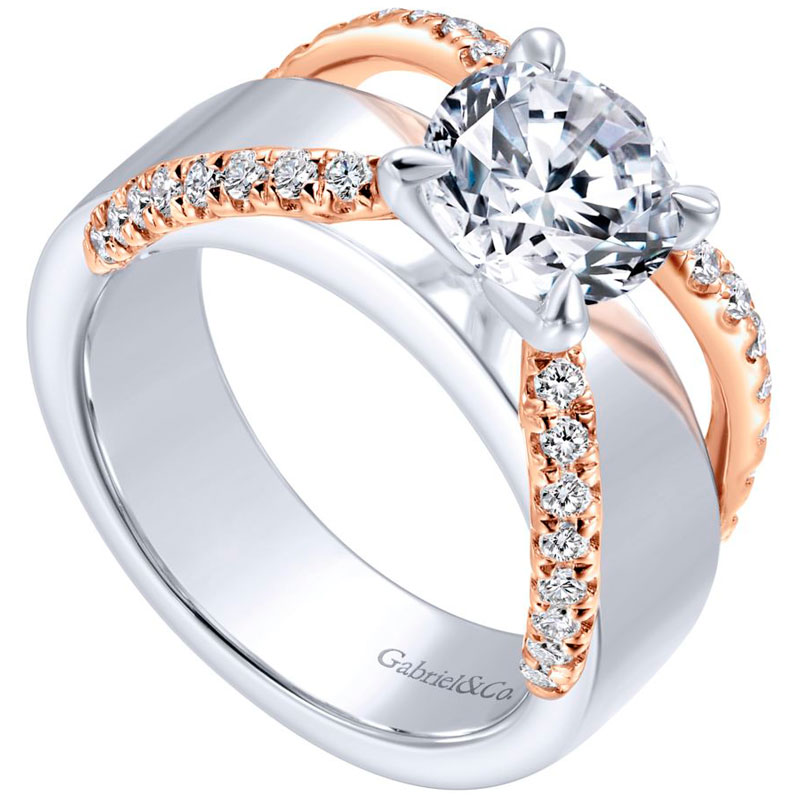 14k white and rose gold criss cross engagement ring mounting - 0.41 ct. total diamond weight