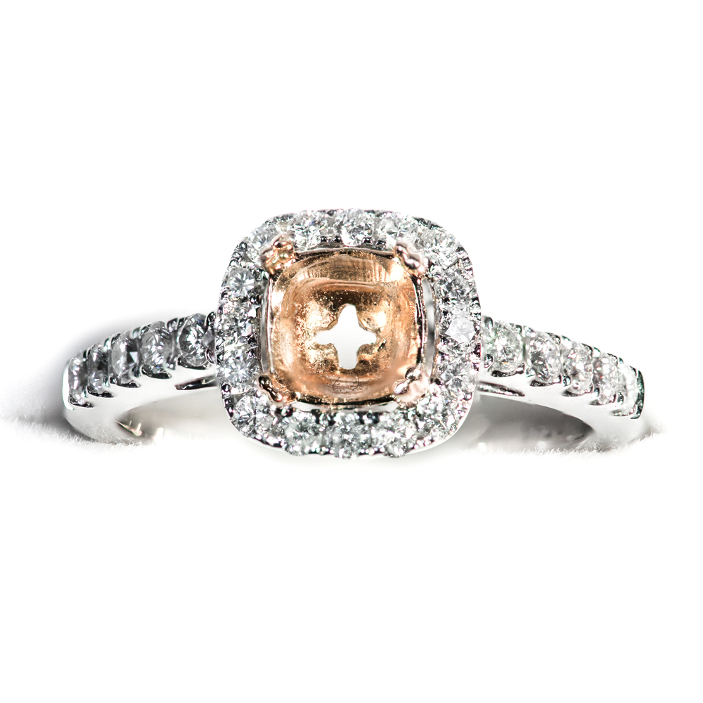 14k white and yellow gold shared prong cushion shape diamond halo engagement mounting