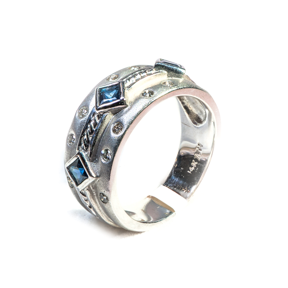 14k white gold princess cut sapphire and burnished  round diamond wedding band