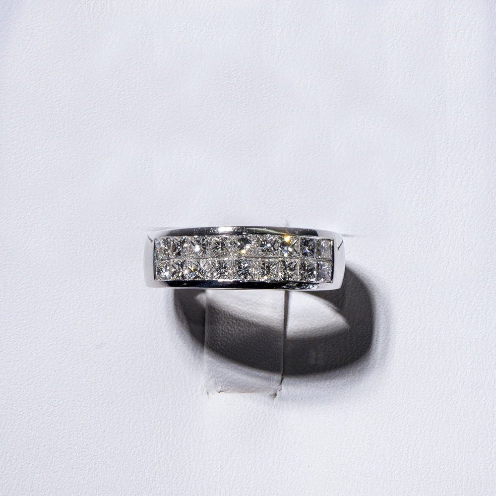 platinum double row invisible set princess cut diamond wedding band