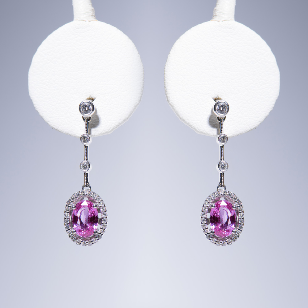 18k white gold oval pear shape pink sapphire in diamond halo hanging earrings