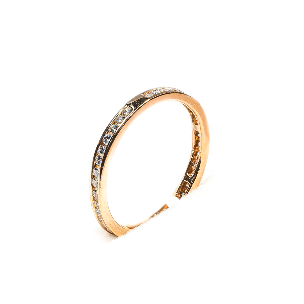 18k rose gold channel set diamond eternity wedding band