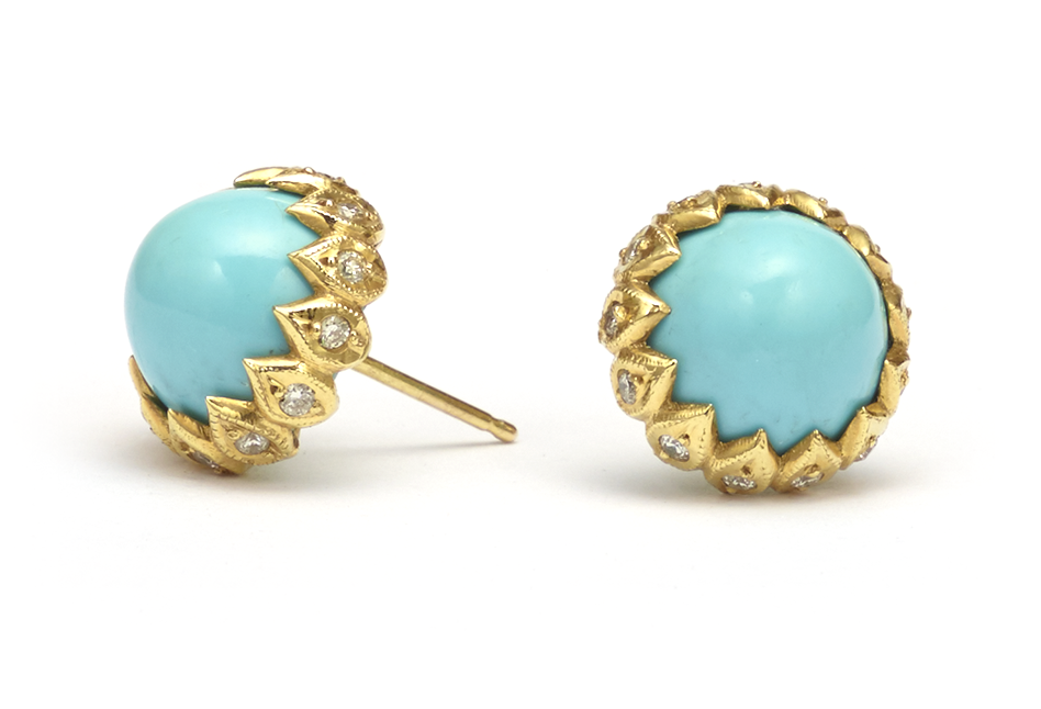 Turquoise halo earrings