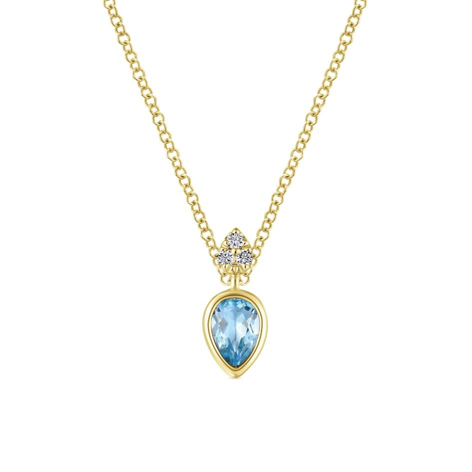 14k yellow gold swiss blue topaz fashion necklace