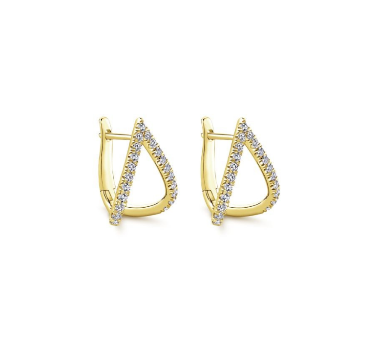 14k yellow gold open v diamond huggie earrings
