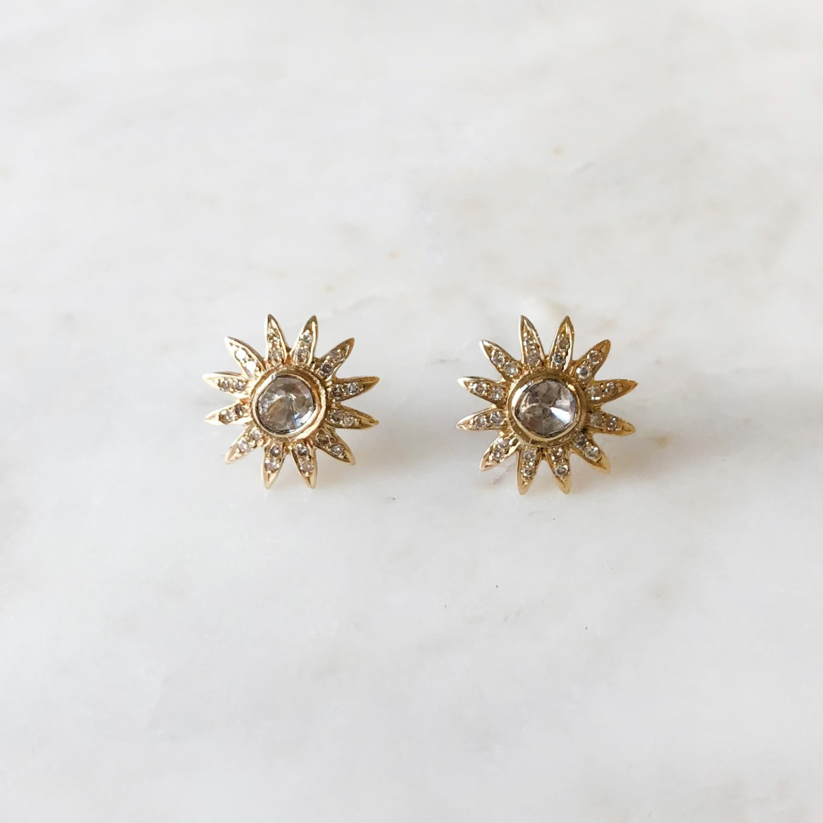 gold diamond pave sunburst earring