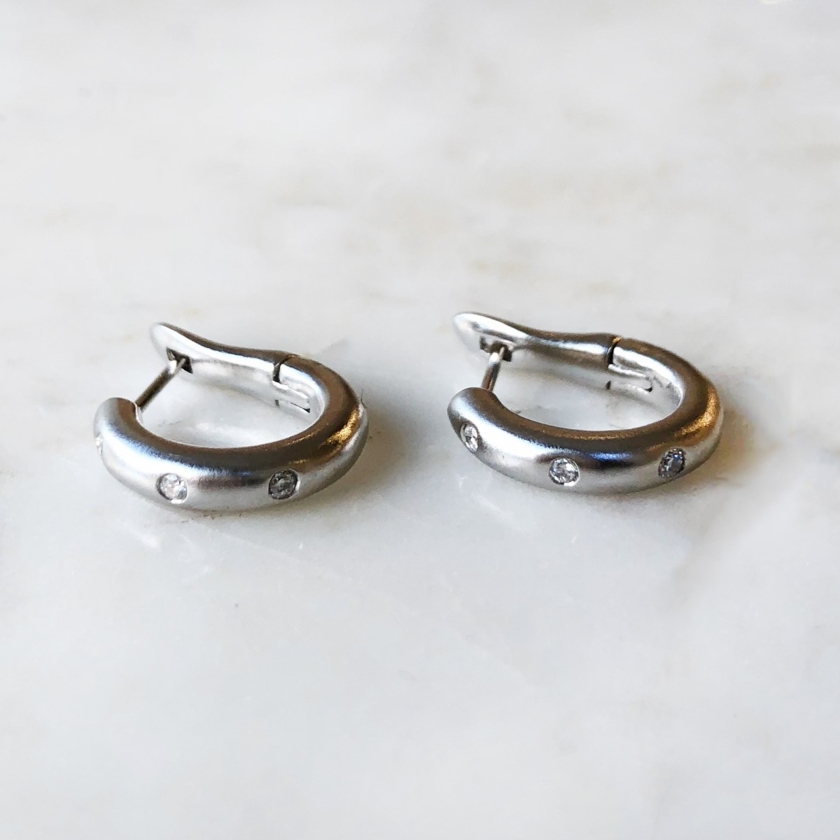 small hoop diamond huggie earrings