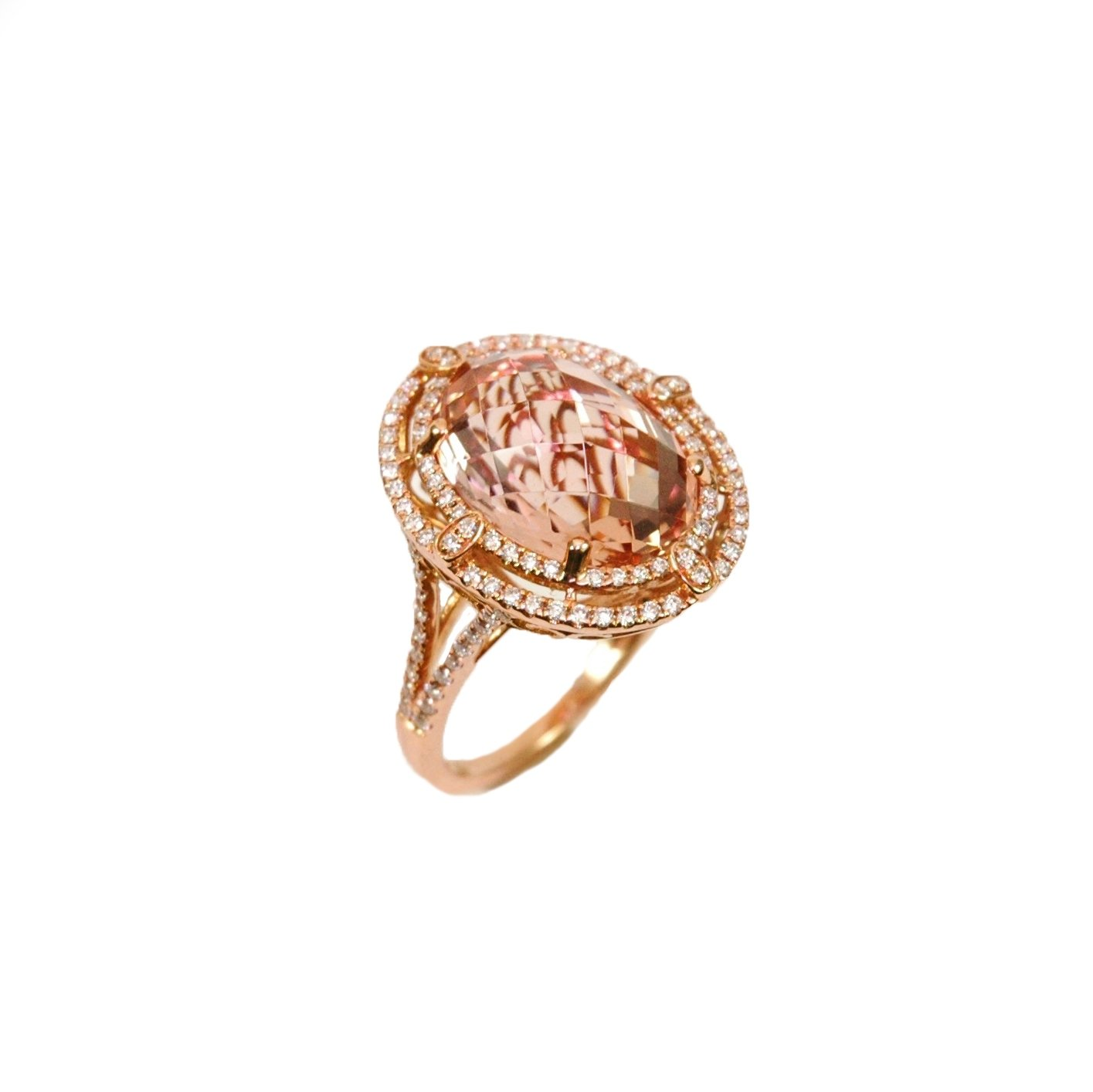 morganite double halo ring