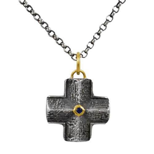 Blue Sapphire Maltese Cross Pendant