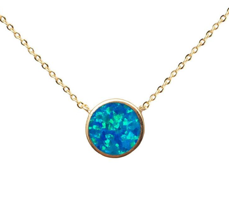 Circle fire opal necklace