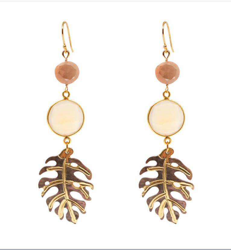 monstera stone earrings