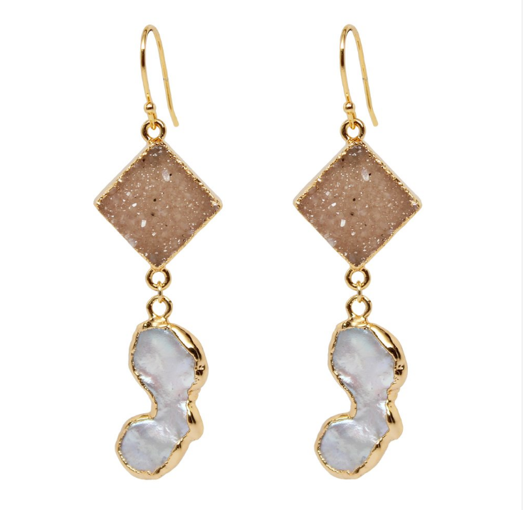Druzy Pearl Dangle