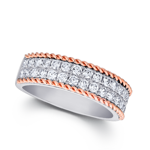 Diamond double row center with rose gold twisted rope edge band