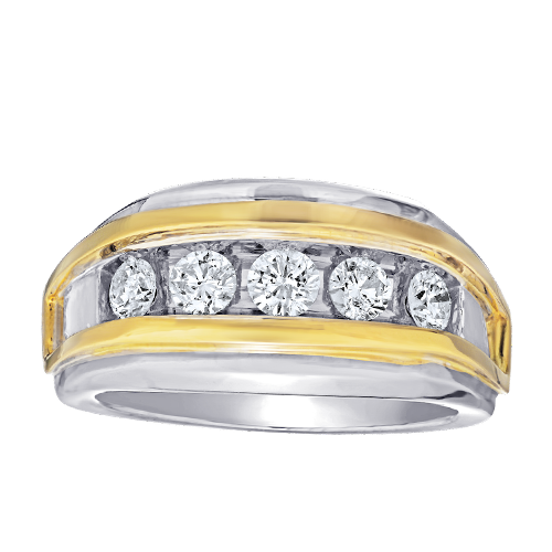 Diamond channel set two tone ring