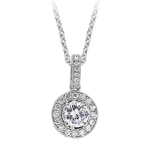 Diamond round halo milgrain semi mount pendant