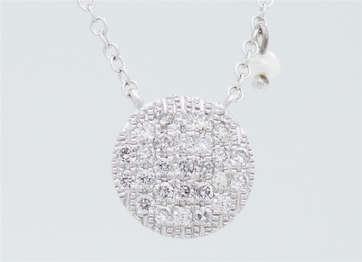 14k white gold pave diamond disc necklace with 3 seed pearl dangles