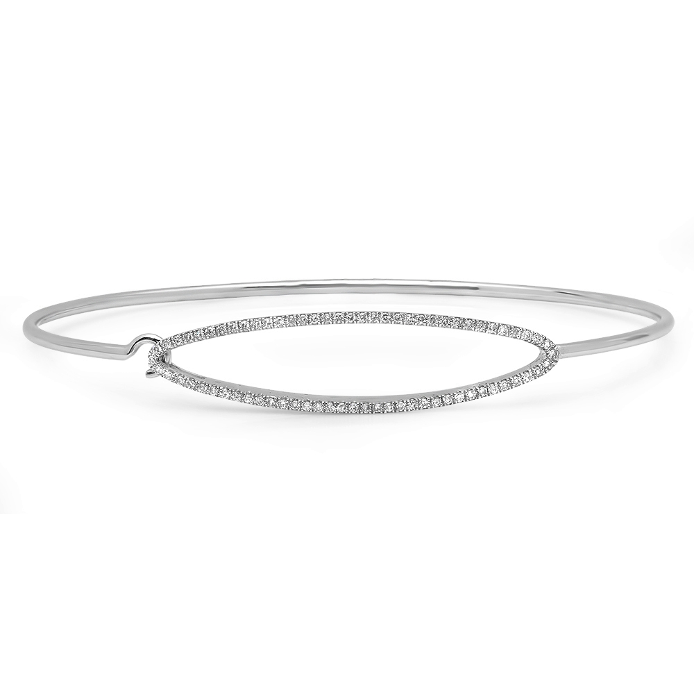 polished white gold bangle bracelet with diamond elipse