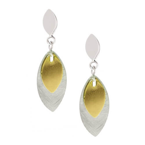 sterling silver and yellow gold plated marquis triumph earrings