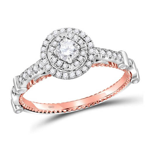 14kt two-tone gold womens round diamond solitaire bridal wedding engagement ring 1/2 cttw