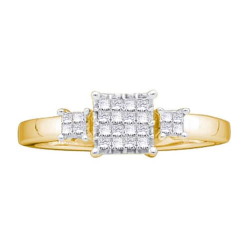 14kt yellow gold womens princess diamond triple cluster bridal wedding engagement ring 1/5 cttw