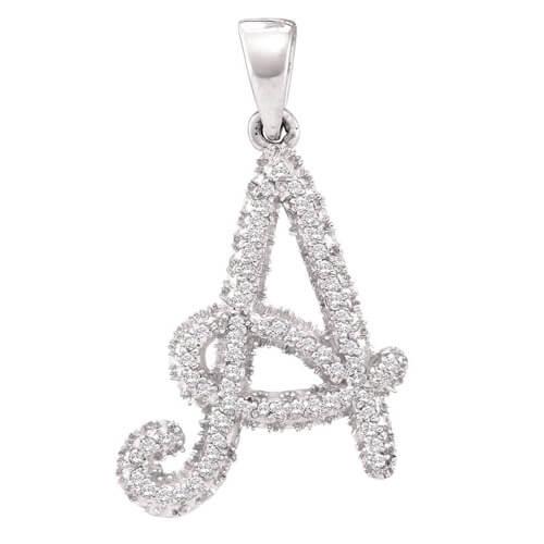10kt white gold womens round diamond letter a pendant 1/6 cttw