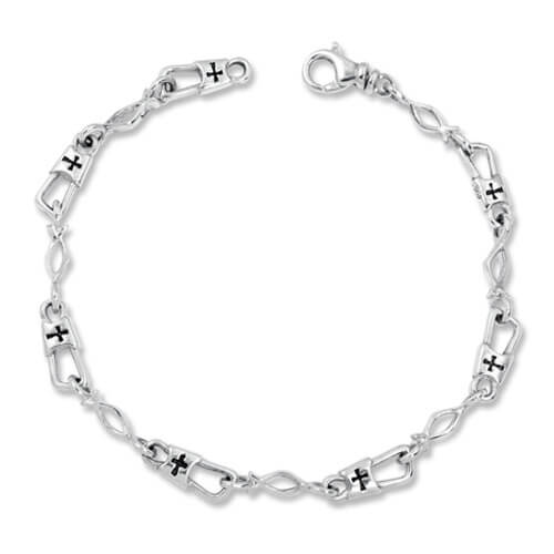 sale fishers of men medium link with ichthus sterling silver